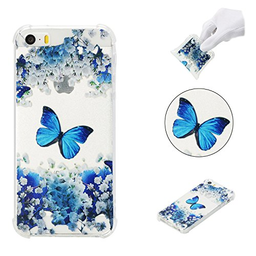iPhone 5SE Case,iPhone 5S Case,AMYM Amusing Whimsical Painted Design Transparent Shockproof TPU Soft Case Rubber Silicone Cover for iPhone 5SE/5S/5C/5 (Blue Butterfly)