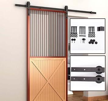 Puerta corredera madera granero de acero color marrón oscuro hardwaretrack Kit 6.6 ft: Amazon.es: Bricolaje y herramientas