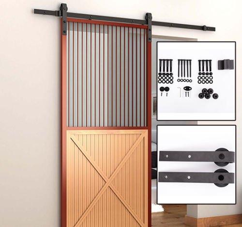 dark-brown-steel-sliding-wood-barn-door-hardwaretrack-kit-66-ft