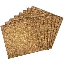 Thornton's Office Supplies Modular High Quality Frameless Cork Mini Wall Bulletin Board Tiles, Natural, 12 Inch x 12 Inch, Frameless (8 Pack)