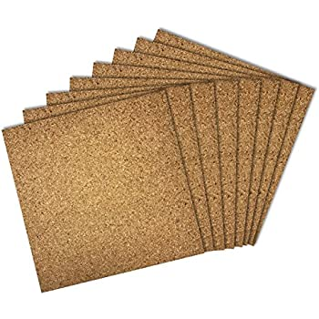 Thornton's Office Supplies Cork Bulletin Board Tiles, Natural, 12 Inch x 12 Inch, Frameless (8 Pack)