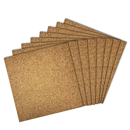 Thornton's Office Supplies Modular High Quality Frameless Cork Mini Wall Bulletin Board Tiles, Natural, 12 Inch x 12 Inch, Frameless (64 Pack) by Thornton's Office Supplies