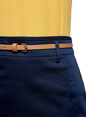oodji Collection Mujer Falda Recta con Cinturón Azul (7900N)