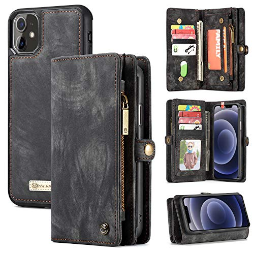Zttopo Wallet Case Compatible with iPhone 12/12 Pro, 2 in 1 Leather Zipper Detachable Magnetic 11 Card Slots with Screen…
