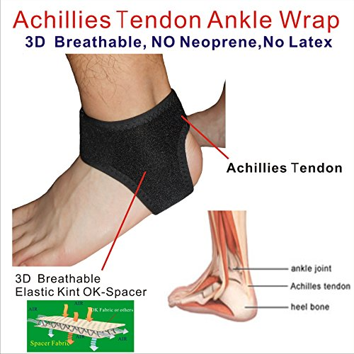 Achilles Tendonitis Brace (C&A Support, AN-OS-11,3D Breathable Elastic Knit Patented Fabric Adjustable Athletics Achillies Tendon Ankle Wrap, Plantar Fasciitis, Pain Relief for Sprains, Strains, Arthritis and Torn Tendons)