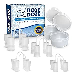 NoseDoze Premium Nose Vents...Bonus Set Free! Stop Snoring Device nasal dilator...Natural Snore Solution to Ease Breathing...Sleep Apnea...8 Nose Vents + 2 Travel Cases!