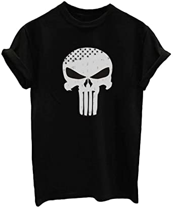 eb503aecc ZHIQUYI Womens Distressed Punisher Skull Stars Graphic Casual Cotton Short  Sleeve Crew Neck Black T-