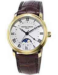 Frederique Constant Mens Classics Moonphase 40mm Leather Band Steel Case Automatic Watch FC-330MC4P5