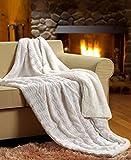 "Tache White Ivory Super Soft Warm Polar Faux Fur with Sherpa Throw Blanket 50""x60"""