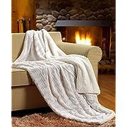 Tache White Ivory Super Soft Warm Polar Faux Fur with Sherpa Throw Blanket 50 x60