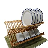 Purzest 2 Levels Bamboo Folding Dish Rack Dish Drying Rack Holder Utensil Drainer