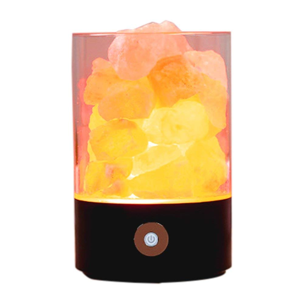 Nanle Himalayan Salt Lamp, Natural Crystal Salt Light with Touch Dimmer Switch LED Multicolour Changing Bulb for Bedroom Office Decoration and Air Purifying (Color : Black) by Nanle (Image #1)