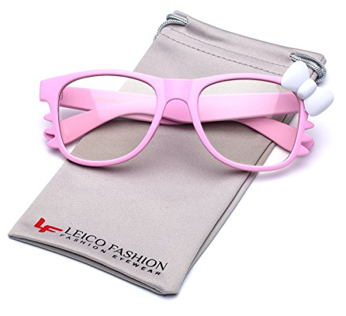 Hello Kitty Bow Women's Fashion Clear Lens Glasses w/ Bow & Whiskers Soft Matte - Hello Glasses Pink Kitty