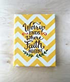 Embroidered Canvas Wall Art - Worry Ends Where Faith Begins