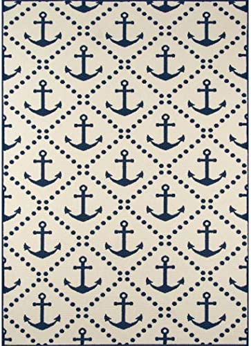 D H 3 11 x5 7 Ivory Blue Navy Sea Anchor Coastal Printed Area Rug, Indoor Outdoor Trellis Coastal Pattern Living Room Rectangle Carpet, Graphic Art Themed, Vibrant Color Soft Synthetic Material