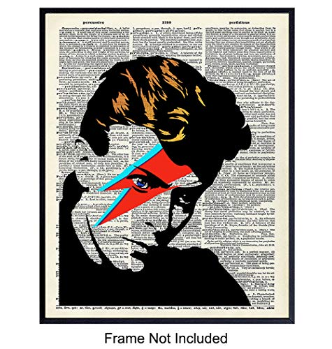 David Bowie Unframed Dictionary Wall Art Print - Great Gift for Rock n Roll Music Fans - Chic Home Decor - Ready to Frame (8x10) Photo - Ziggy Stardust