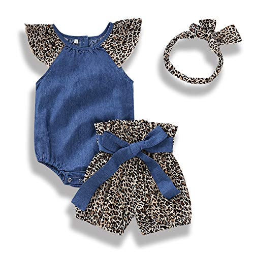 Infant Baby Girls Denim Outfits Leopard Flutter Sleeve Romper Shorts Headband 3Pcs Summer Set (12-18 Months, Navy Blue # Leopard) ()