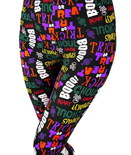 Just One Halloween Leggings for Women, Spooky Scary Boo Trick Or Treat Print, Black L