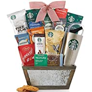 Starbucks Coffee and Teavana Tea Gift Basket. Great for Coffee or Tea Drinker Starbucks Teavana Coffee Ready to Brew 20oz Stainless Steel Tumbler Reusable Via Instant Mocha Latte Truffles