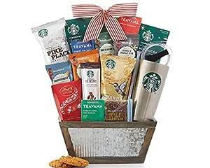 Starbucks Coffee and Teavana Tea Gift Basket. Great for Coffee or Tea Drinker Starbucks Teavana Coffee Ready to Brew 20oz Stainless Steel Tumbler Reusable Via Instant Mocha Latte Truffles
