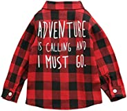 Kids Toddler Baby Plaid Letter T-Shirt Button-Down Girl Boys Long Sleeve Flannel Shirt Clothes