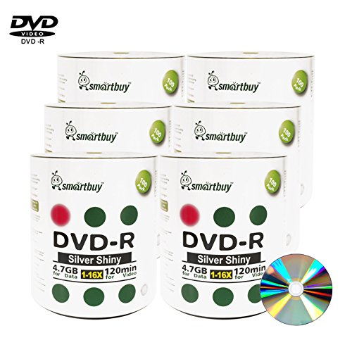 Smart Buy 600 Pack Dvd-r 4.7gb 16x Shiny Silver Blank Data Video Movie Recordable Media Disc, 600 Disc 600pk