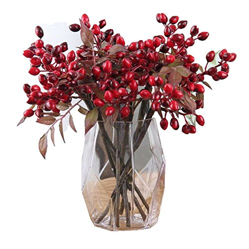 Holly Spray - Htmeing 6pcs Artificial Holly Berry Sprays for Holiday Decorating and Christmas Flowers Arrangements(Red)