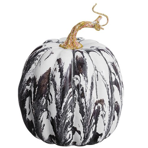 SilksAreForever 6'' Hx4 W Artificial Marble Look Pumpkin -Gray/White (Pack of 12)