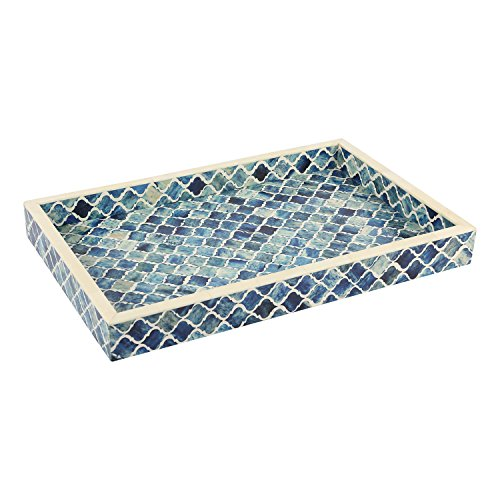 Handicrafts Home Decorative Tray Inspired by Vintage Moorish Moroccan Art Handmade Naturals Bone Inlay Quatrefoil Designer All Purpose Serving Tray, Breakfast, Coffee, Table Top from (Blue & White) ()