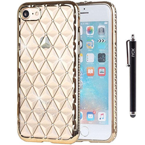 iPhone 7 Case, iYCK [3D Prism] Soft Flexible TPU Rubber Gel Crystal Clear [Studded Full Frame and Back] Diamond Bling Rhinestone Protective Shell Back Case Cover for iPhone 7 4.7 inch - Gold (Tpu Frame)
