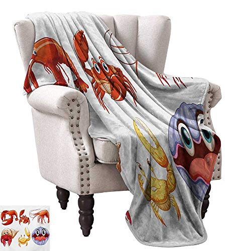 Throw Blanket,Illustration of Sea Animals Like Crab Hermit Crab Lobster Shells Shrimp Print 60