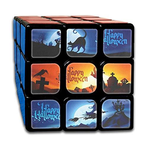Rubiks Cube Halloween Witch Black Cat Tomb Personalized Speed Cube 3x3 Smooth Magic Cube Puzzle Game Black