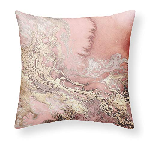INNNOISEEM Soft Personalized Zippered Pillowcase Decorative Square Throw Pillow Case Two Sides 18x18 Cushion Cover (Pink seawater Like Rose Pattern)