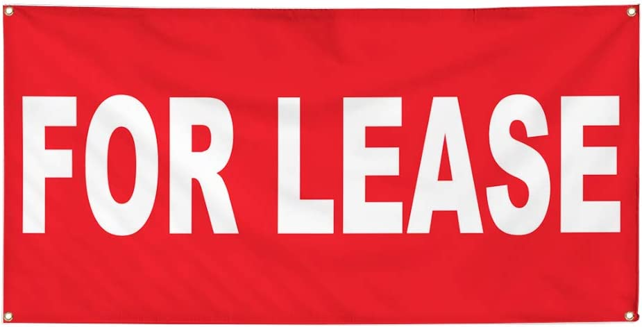 Vinyl Banner Multiple Sizes for Lease Red Background Business Outdoor Weatherproof Industrial Yard Signs 8 Grommets 48x96Inches
