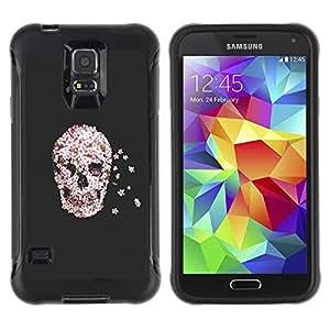 LASTONE PHONE CASE / Suave Silicona Caso Carcasa de Caucho Funda para Samsung Galaxy S5 SM-G900 / Flowers Rebirth Death Grey Gray