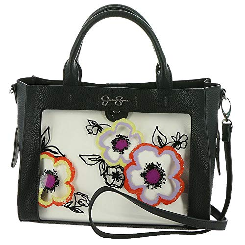 Jessica Simpson Women's Candie Satchel w/Crossbody Pouch Black/Clear One Size ()