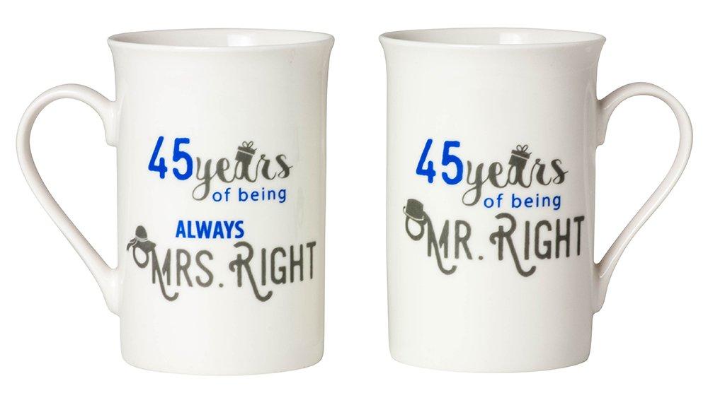 Designer 45th Anniversary Mr Right & Mrs Always Right Mug Gift Set by Haysoms