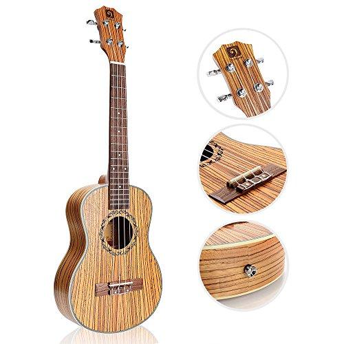 "Vangoa - UK-21Z Soprano 21"" inches Acoustic Ukulele in Zebra Wood with Nylon Strap, Pick, Pick Container, Carry Bag, Tuner, Kazoo, Backup Strings, Finger Shaker - Image 2"