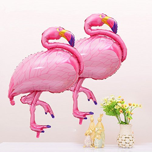 CUEA 40inch Pink Flamingo Shaped Mylar Balloon for Birthday Party Decorations -