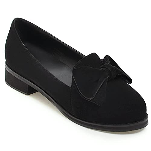 95f01532796 KingRover Women s Cute Bow Penny Loafers Suede Moccasins Pull on Closed Toe  Comfortable Work Shoes Black