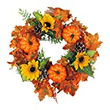 Artificial Sunflower Pumpkin Pinecone and Maple Leaf Wreath with Berry Lights for Halloween and Thanksgiving Home Indoor or Outdoor Arrangement Decoration
