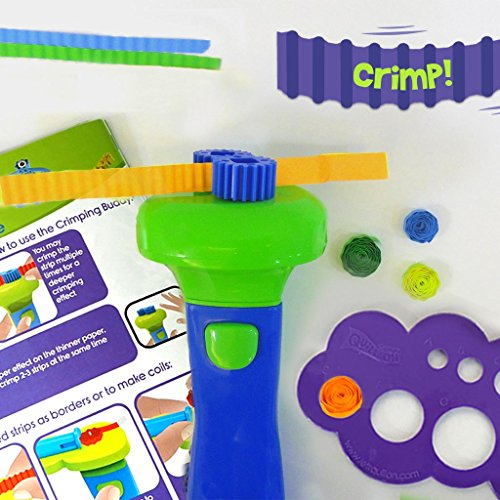 QUILL ON-Super Quiller and Buddies,Blue- Motorized Multi-Function Quilling Tool- Craft Kit for Experts- for Boys and Girls Above 8 Years to Coil, Crimp or Make Beads from Paper- Fun Creative kit