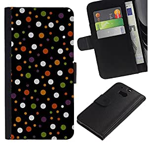 For HTC One M8,S-type® Spots Polka Dot Design Fabric Pastel - Dibujo PU billetera de cuero Funda Case Caso de la piel de la bolsa protectora