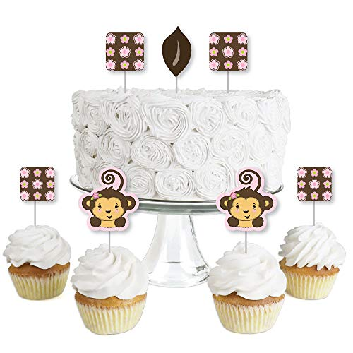 (Pink Monkey Girl - Dessert Cupcake Toppers - Baby Shower or Birthday Party Clear Treat Picks - Set of 24)