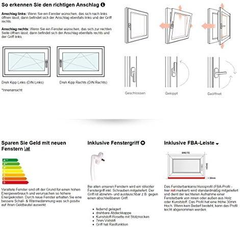 BxH: 120 x 40 cm Fenster 2 fach Verglasung DIN Links 60 mm Profil Kellerfenster 1200 x 400 mm innen wei/ß//au/ßen anthrazit Kunststoff