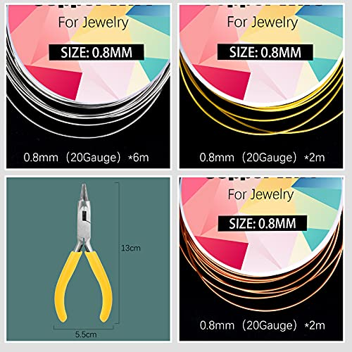 20 Gauge Craft Wire, 3 Rolls 0.8mm Copper Wire 10m Jewellery Wire with Pliers for Jewellery Making (Silver, Gold, Rose Gold)