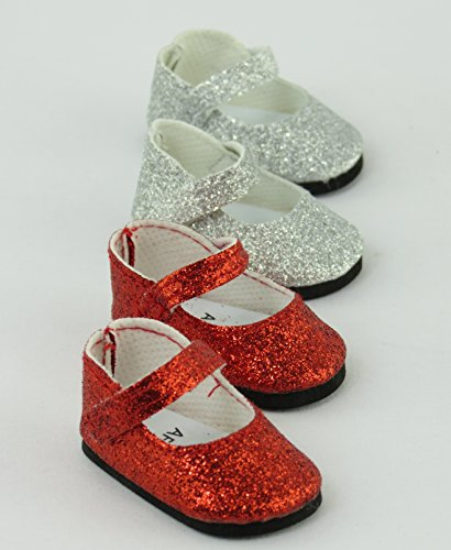 American Fashion World Red and Silver Glitter Mary Jane Shoes 2 pc. | Fits 14.5
