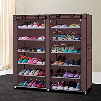 50 Pairs 10-Tier Shoe Rack Shoe Organizer Shoe Storage Shoe Shelves Cabinet Stackable - Easy to Assemble - No Tools Required (6 Tier 36 Pairs-Coffee) Chawind