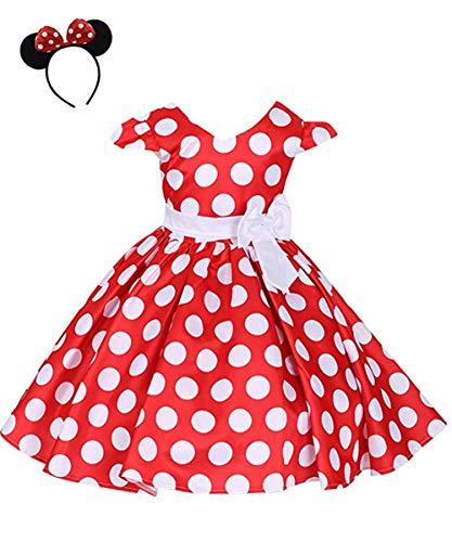 CuteMe Girls Polka Dots Cap Sleeves Princess Skirt Bowknot Tutu Dress Mouse Ears Headband Cosplay Birthday Princess Dress Up Fancy Christmas Costume(L616,Red,110) ()
