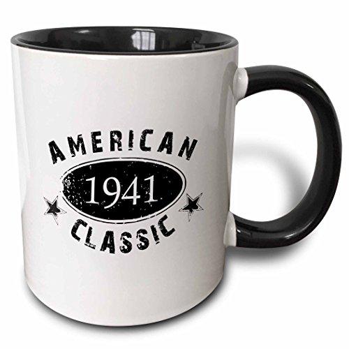3dRose mug_161755_4 1941 American Classic Personalized Birth Year Birthday gift black grunge vintage look funny Two Tone Black Mug, 11 oz, Black/White